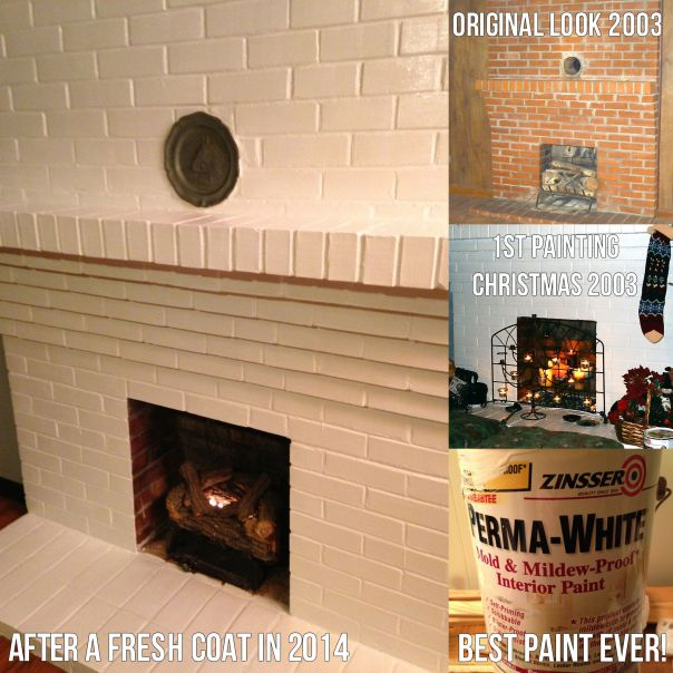 Fireplace now and before painting