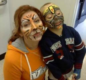 Facepainting, fundraising, Tiger face, Transformer face