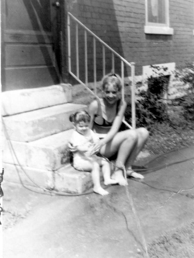 Baby Rhonda with a neighbor in Cincinnati Ohio